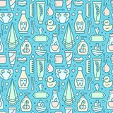 Ordered seamless pattern with baby hygiene accessories. Suitable for wallpaper, wrapping or textile royalty free illustration