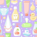 Ordered seamless pattern with baby hygiene elements in flat style. Suitable for wallpaper, wrapping or textile stock illustration