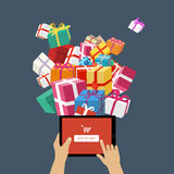 Ordering christmas gifts online royalty free illustration
