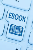 Ordering E-book Ebook download internet blue reading computer on. Line web keyboard Royalty Free Stock Photo