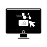 Ordering food online computer pictogram Stock Images