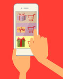 Ordering gift. Ordering online gift through the web site using a mobile phone. Vector illustration Royalty Free Stock Image