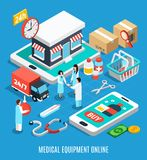 Medical Equipment Isometric Concept stock illustration