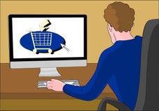 Ordering online shopping cart  man Royalty Free Stock Photo