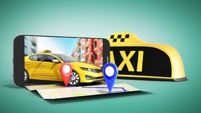 Ordering a taxi cab online internet service transportation conce Stock Photography