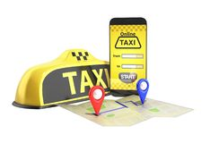 Ordering a taxi cab online internet service transportation conce Royalty Free Stock Image
