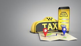 Ordering a taxi cab online internet service transportation conce Royalty Free Stock Photography