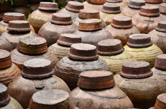 Orderly arrangement of the wine jars. Wine jars in rows at Nanxun town stock image