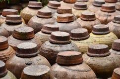 Orderly arrangement of the wine jars Stock Image