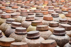 Orderly arrangement of the wine jars. Wine jars in rows at Nanxun town royalty free stock images