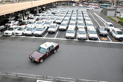 Orderly Taxi park,Tokyo,Japan Royalty Free Stock Photo