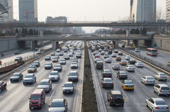 Orderly traffic in beijing. On the main roads, Although a lot of cars, but the traffic is orderly,This photo was taken on March 9, 2014 Stock Photography