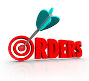 Orders 3D Word Arrow Target Purchasing Merchandise Store Sales. Orders word in 3d red letters and an arrow in a bulls-eye target to illustrate increasing sales Stock Photo