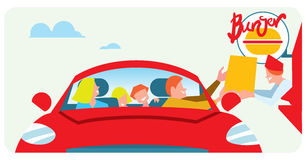Orders fast food from the car Royalty Free Stock Images