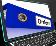 Orders File On Laptop Shows Customers Records Royalty Free Stock Photography