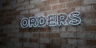 ORDERS - Glowing Neon Sign on stonework wall - 3D rendered royalty free stock illustration. Can be used for online banner ads and direct mailers Royalty Free Stock Photos