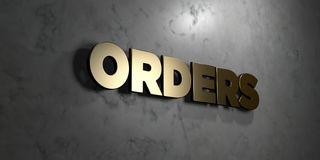 Orders - Gold sign mounted on glossy marble wall  - 3D rendered royalty free stock illustration. This image can be used for an online website banner ad or a Stock Photos