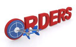 Orders graphics. Red block text graphics spelling orders with bulls eye and darts on white Royalty Free Stock Photo