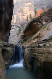 Orderville Canyon Falls. A small waterfall located in Orderville Canyon, Zion National Park Stock Photos