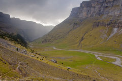 Ordesa Valley - Dark Cloudy Day. Stock Image