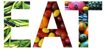 Ordet äter lagt ut till från färgglade mång--färgade frukter och grönsaker sund begreppsmat Vegetarisk produkt Organiskt rått pro royaltyfri bild