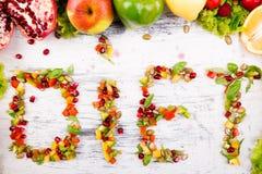 Ordet bantar göras från fruite och grönsaker Arkivfoto