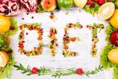 Ordet bantar göras från fruite och grönsaker Arkivbilder