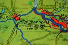 Ordet Delmenhorst, nära Bremen, onheöversikt royaltyfria bilder