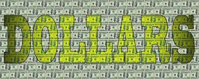 Ordet DOLLAR mot bakgrunden av dollar Royaltyfri Foto