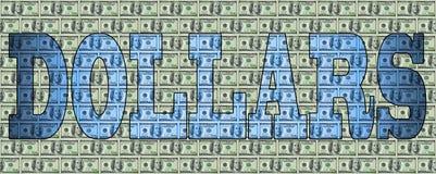 Ordet DOLLAR mot bakgrunden av dollar Arkivfoto