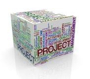 ordet för kuben 3d märker wordcloud av projektledning Royaltyfria Foton
