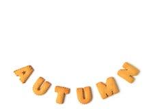 Ordet HÖSTEN som stavades med alfabet, formade kex på vit bakgrund, med fritt utrymme för design Royaltyfri Foto