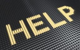 Ordet HJÄLP som göras från kuber vektor illustrationer