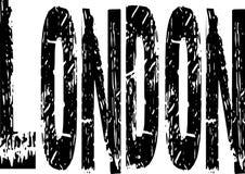 Ordet London i svart Grungetyp Royaltyfri Foto