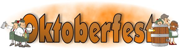 Ordet Oktoberfest med bayerska tecken Royaltyfria Bilder
