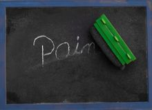 Ordet smärtar skriftligt i krita på en svart tavla som raderas Arkivbild