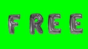 Ordet som är fritt från helium, försilvrar ballongbokstäver som svävar på den gröna skärmen - stock video