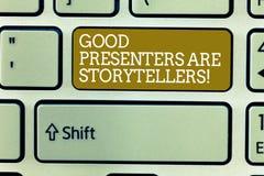 Ordet som skriver text bra presentatörer, är sagoberättare Affärsidéen för stora meddelare berättar utmärkta berättelser royaltyfri bild