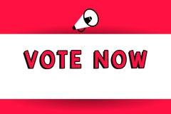 Ordet som skriver text, röstar nu Affärsidé för formell indikering av valet mellan två eller mer tillvägagångssätt royaltyfri illustrationer