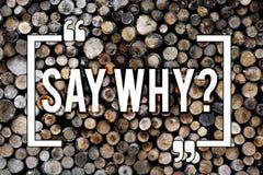 Ordet som skriver text, säger Whyquestion Affärsidé för Give en förklaring uttryckliga anledningar som frågar en träfråga royaltyfri fotografi