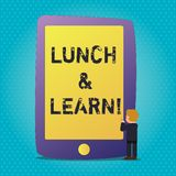 Ordet som skriver text, ?ter lunch och l?r Aff?rsid? f?r defiend som seminariet som erbjuds under fri lunch f?r att testa den vektor illustrationer