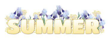 Ordet 'sommar ', Gul lutninginskrift på vit bakgrund Ljusa iriers och gula kvistar stock illustrationer