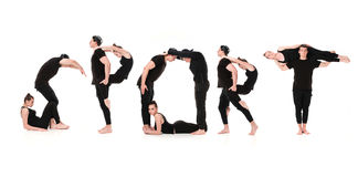 Ordet SPORT som bildas av gymnastkroppar royaltyfri foto
