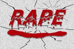 Ordet våldtar i rött stekflottblod Arkivbilder