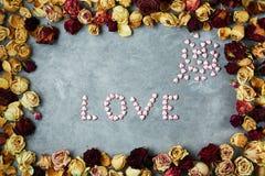 Ordförälskelse från små dekorativa hjärtor i ram från torkade rosknoppar på grånar konkret bakgrund Royaltyfri Foto