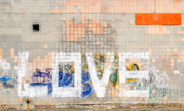 Ordförälskelse på en belagd med tegel vägg royaltyfri foto