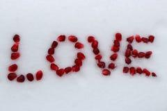 Ordförälskelse som göras av granatäpplefrö på vit snö fotografering för bildbyråer