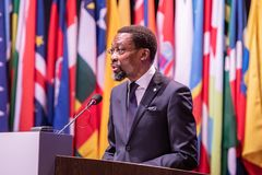 The president of the giving an opening speech International Criminal Court ICC Assembly of States Parties