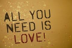 Ordhandstilall text som du behöver, är Motivational förälskelse Affärsidéen för djup affektion behöver romanska idémeddelanden fö Royaltyfri Fotografi