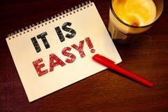 Ordhandstiltext är det den lätta Motivational appellen Affärsidé för den klara enkla inte invecklade grundläggande EffortlessNote Fotografering för Bildbyråer